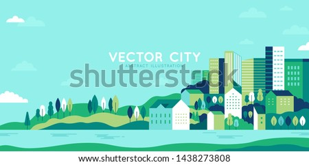 Vector illustration in simple minimal geometric flat style - city landscape with buildings, hills and trees - abstract horizontal banner and background with copy space for text - header images for web