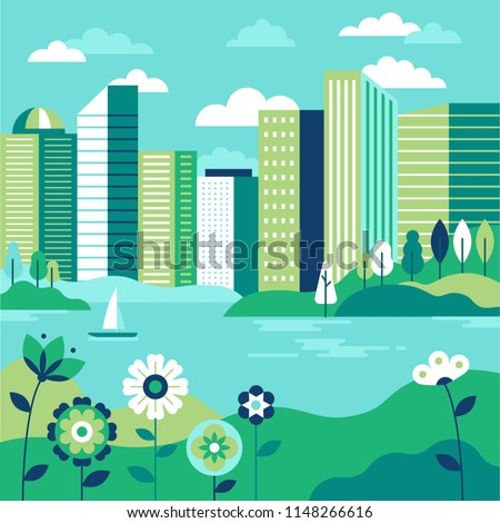 Vector illustration in simple minimal geometric flat style - city landscape with buildings, lake flowers and trees - abstract background for header images for websites, banners, covers