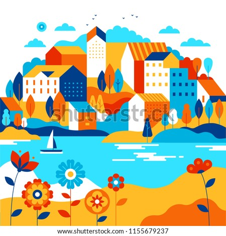 Vector illustration in simple minimal geometric flat style - city landscape with buildings, lake, flowers and trees - abstract background for header images for websites, banners, covers