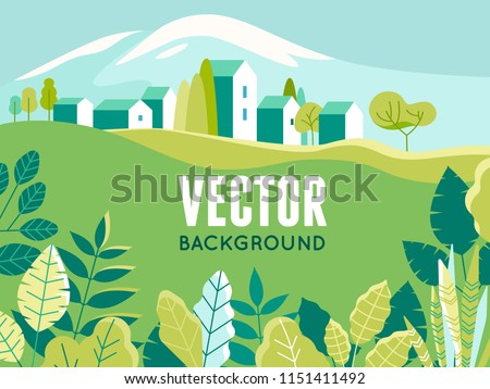 Vector illustration in simple minimal geometric flat style - village landscape with buildings, hills, flowers and trees - abstract background for header images for websites, banners, covers