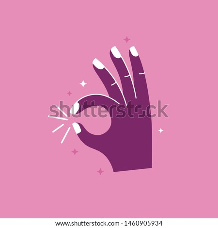 Vector illustration in simple style with hand - ok gesture -  stylish print for poster or t-shirt  Zdjęcia stock ©