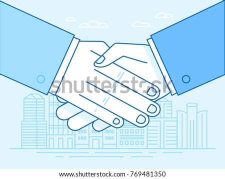 Vector illustration in trendy flat and linear style and blue colors - handshake and city landscape - business partnership