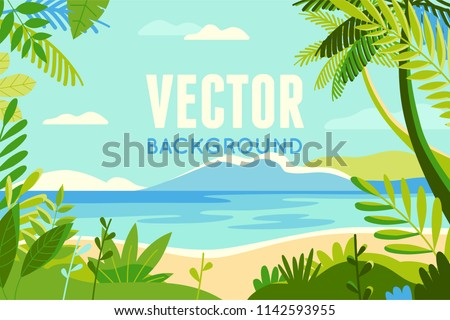 Vector illustration in trendy flat and linear style - background with copy space for text - plants, leaves, palm trees and sky - beach landscape - background for banner, greeting card- summer vacation