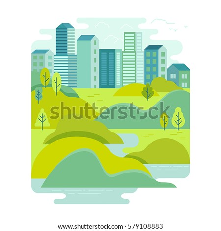 Vector illustration in trendy flat and linear style - background with green landscape and city skyline - concept and design element for banners, infographics, greeting card - travel concept