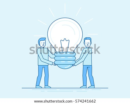 Vector illustration in trendy flat and linear style - idea development concept - small people carrying big light bulb - banner and infographics design template