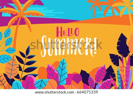 Vector illustration in trendy flat and linear style - summer background with hand-lettering text hello summer - plants, leaves and forest landscape - background for banner, greeting card, poster