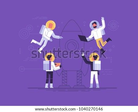 Vector illustration in trendy flat and linear style - teamwork and start up concept - small people in space suits constructing space ship - banner and infographics design template