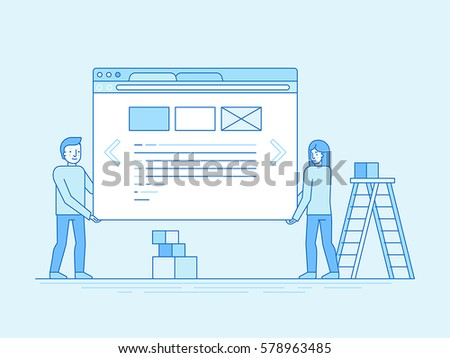 Vector illustration in trendy flat and linear style - web design and user interface development concept - small people building website with blocks in the browser - infographics design template