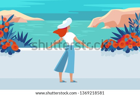 Vector illustration in trendy flat and simple style -  summer landscape and woman enjoying vacation - background for banner, greeting card, poster and advertising