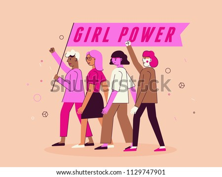 Vector illustration in trendy flat linear minimal style  with female characters - girl power and feminism  concept  - diverse women standing together