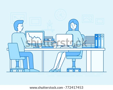 Vector illustration in trendy flat linear style and blue colors - woman and man working sitting at the desk with computer and hard working - busy and overloaded employee