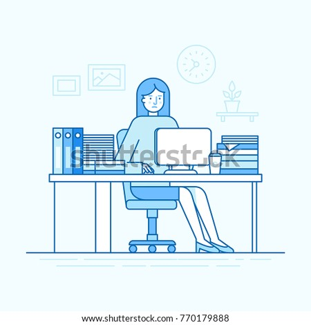 Vector illustration in trendy flat linear style and blue colors - woman working sitting at the desk with computer and hard working - busy and overloaded employee