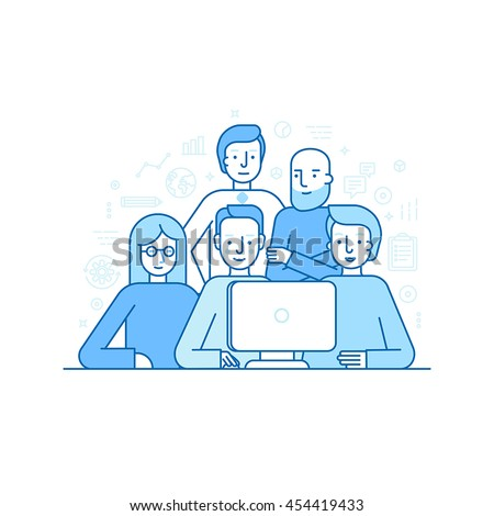 Vector illustration in trendy flat linear style - creative team working on a website for start up business -  developing and management of the project - banner or landing page