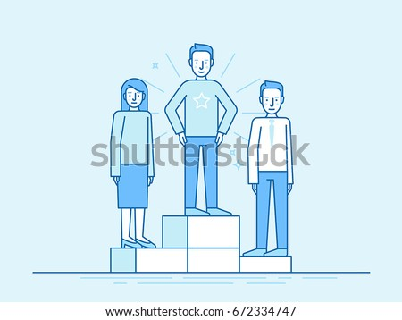 Vector illustration in trendy flat linear style in blue colour - business competition winner - people standing on the podium on the first, second and third place - career achievement