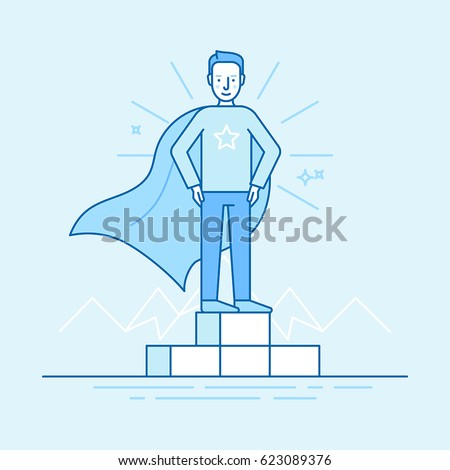 Vector illustration in trendy flat linear style in blue colour - business competition winner - man standing on the podium on the first place - super hero