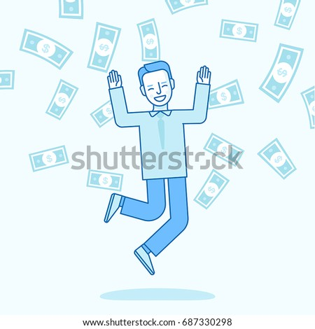 Vector illustration in trendy flat linear style in blue colour - happy man winning money lottery - dollar rain falling on lucky guy - business success concept