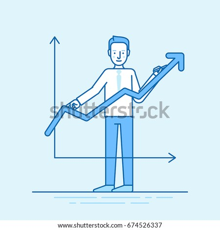 Vector illustration in trendy flat linear style in blue colour - man drawing graphic - business development concept
