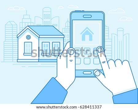 Vector illustration in trendy flat linear style in blue colour - smart house concept - hand holding mobile with app on the screen for remote control of the house