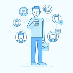 Vector illustration in trendy flat linear style - man holding the mobile phone with smile on his face - receiving comments, notifications and appreciations from his customers and followers