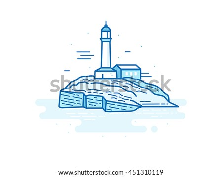 Vector illustration in trendy flat linear style - natural landscape - lighthouse on the island in the ocean - travel concept for banner or postcard