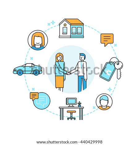 Vector illustration in trendy flat linear style - sharing economy and collaborative consumption concept and infographic elements - peer to peer lending and renting - carsharing, coworking, coliving Stock photo ©