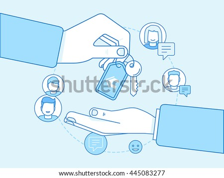 Vector illustration in trendy flat linear style - sharing economy and collaborative consumption concept and infographic design elements - house exchange and home swap Stock photo ©