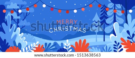 Vector illustration in trendy flat simple style - Merry  Christmas and Happy New Year greeting card and banner - winter landscape with garland
