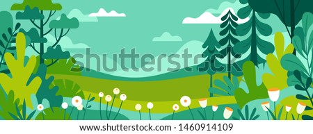 Vector illustration in trendy flat simple style - spring and summer background with copy space for text - landscape with plants, leaves, flowers - background for banner, greeting card, poster and adve