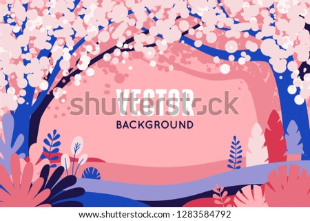 Vector illustration in trendy flat simple style - spring background with copy space for text - landscape with sakura trees  - background for banner, greeting card, poster and advertising