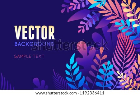 Vector illustration in trendy flat style and bright vibrant gradient colors - background with copy space for text - plants, leaves, trees and sky - background for banner, greeting card, poster