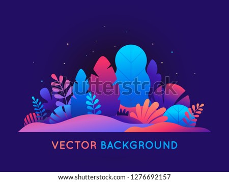 Vector illustration in trendy flat style and bright vibrant gradient colors - background with copy space for text - leaves - background for banner, greeting card, poster and advertising - magic forest