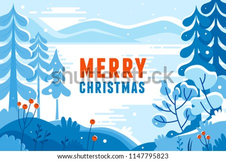 Vector illustration in trendy flat  style - background with copy space for text - winter landscape - background for banner, greeting card, poster and advertising- happy new year and Christmas holidays