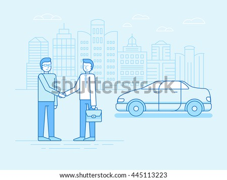 Vector illustration in trendy linear flat style and blue colors - car sharing concept - new model of car rental service - collaborative consumption and sharing economy Stock photo ©