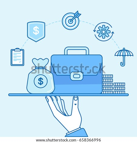 Vector illustration in trendy linear style and blue colors - business insurance and banking service concept - hand holding money and portfolio