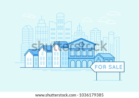 Vector illustration in trendy linear style and blue colors - houses and pointer for sale - real estate and mortgage concept