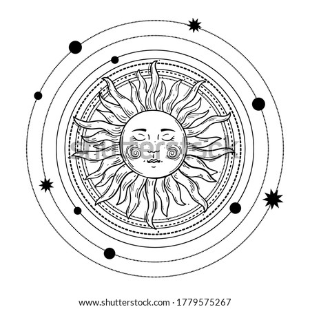Vector illustration in vintage mystic style, boho design, tattoo, tarot. The device of the universe, the sun with a face, orbits with stars. Line drawing Isolated on a white background Stock photo ©