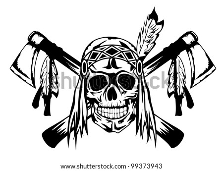 Vector illustration indian and tomahawk