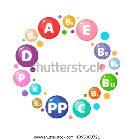 Vector illustration. Infographics. Circle. Vitamins, minerals, nutrients. Сток-фото ©