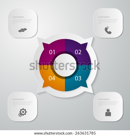 Vector illustration infographics circle with four quadrants . Rectangles with rounded corners Stock photo ©