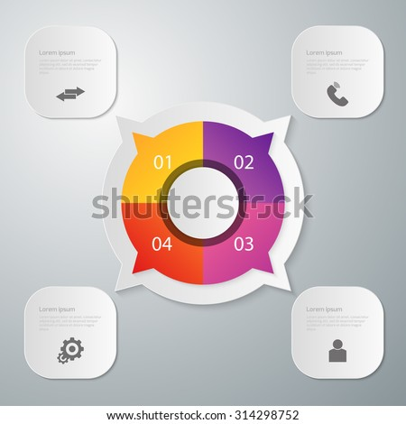 Vector illustration, infographics circle with four quadrants. Rectangles with rounded corners. Stock photo ©