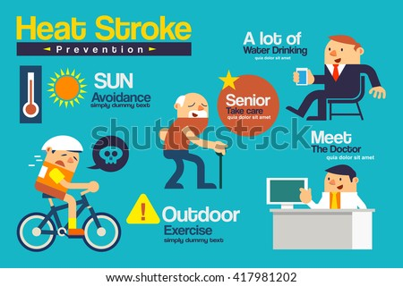 Vector illustration Infographics layout about Heat stroke prevention present by flat cartoon.