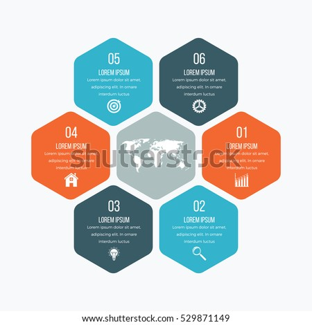Vector illustration infographics six hexagons. Stock vector