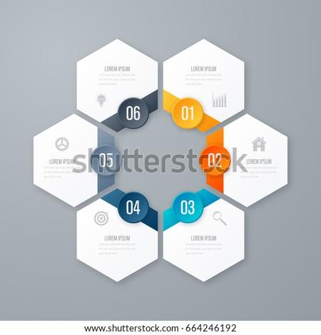Vector illustration infographics six options. Template for brochure, business, web design