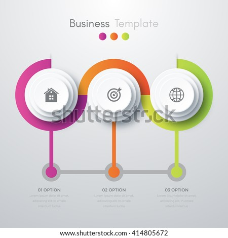 Vector illustration infographics three options. Template for brochure, business, web design