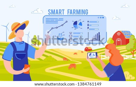 Vector Illustration Inscription Smart Farming. Farmers and Engineers are Already Working to Feed Population. Development and Implementation Smart Farms. Man Analyzes Data on Feeding Cows.