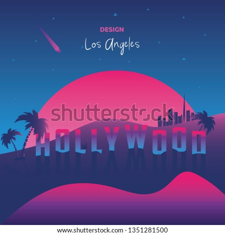 Vector illustration, inspired by 80s disco music, 3d background, neon, Los Angeles, Hollywood state of California at sunset, tourism. Vector illustration