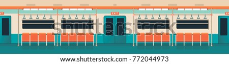 vector illustration interior of a subway car panoramic view in a flat style nobody
