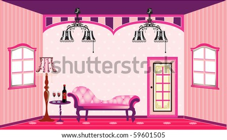 Vector illustration - Interior of a vintage living room.