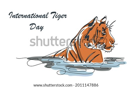 Vector Illustration, International Tiger Day is observed every July 29. Tiger with text  International Tiger Day. One continuous line drawing art.