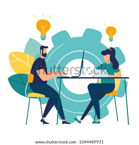 vector illustration Internet assistant at work.  vector,promotion in the network. manager for remote work, team work on the project, brainstorming
